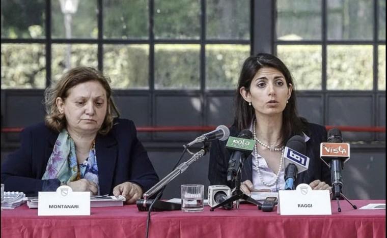 Virginia Raggi e Pinuccia Montanari (Ansa)
